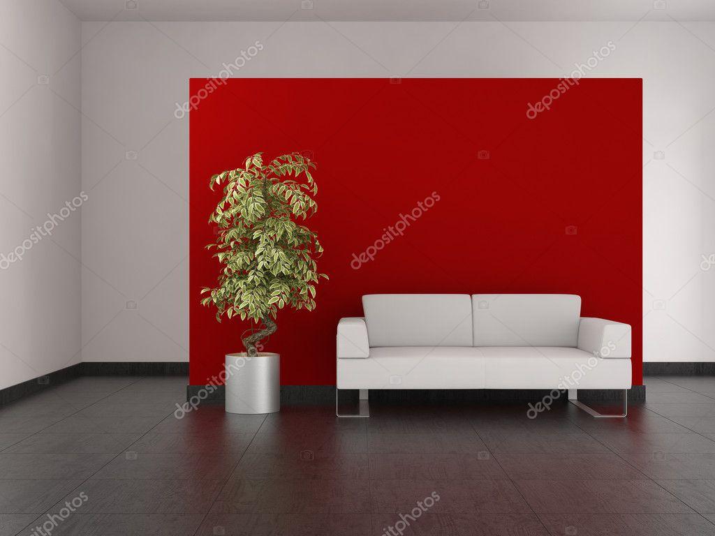 Moderne wohnzimmer mit rote wand und fliesenboden — stockfoto ...