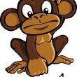 Cartoon monkey with banana - Stock Vector