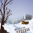 Winter landscape with cottage in the woods - Stock Vector