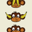 Three wise monkeys — Stock Vector