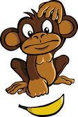 Cartoon aap met banaan — Stockvector
