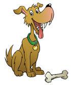 Cartoon dog with bone — Stock Vector