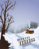 Winter landscape with cottage in the woods — Stock Vector
