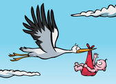 Stork with baby — Stock Vector