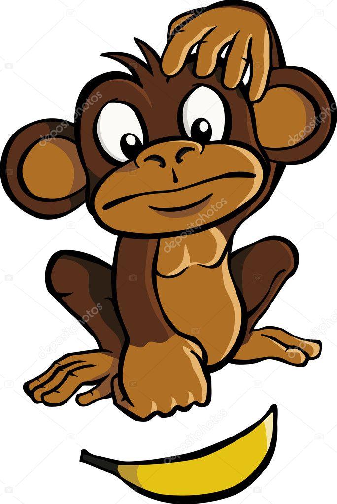 Scimmia di cartone animato con banana — vettoriali stock