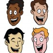 Various male cartoon faces - Stock Vector