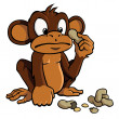 Cartoon monkey with peanuts - Stock Vector