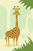 Cartoon giraffe with trees — Stock Vector