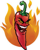 Evil red chili pepper — Stock Vector