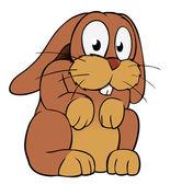 Brown cartoon rabbit — Stock Vector