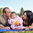 Happy family outdoors on grass — Stock Photo