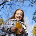 Chica en el parque otoño — Foto de Stock