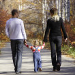 Family on walk — Stock Photo