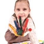 Girl finger paint — Stock Photo