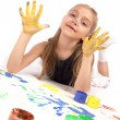 Girl finger paint — Stock Photo
