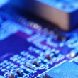 Close-up of electronic circuit board with processor - 