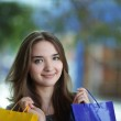 Beauty girl with shopping bag — Stock Photo #5646229