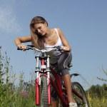Girl biking — Stock Photo