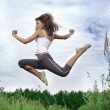 Happy jumping girl — Photo