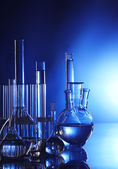Chemical flasks with reagents — Stock Photo