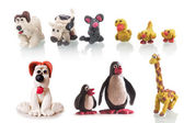 Plasticine animal set made children — Stock Photo