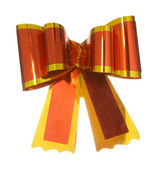 Red satin gift bow ribbon — Stock Photo