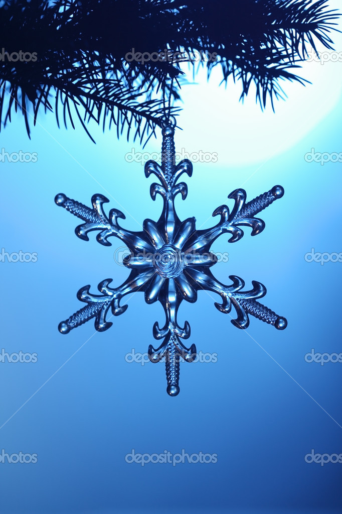 Silvery snowflake on blue background — Stock Photo #5644035