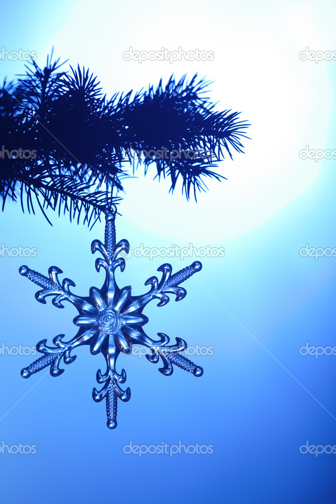 Silvery snowflake on blue background — Stock Photo #5644040