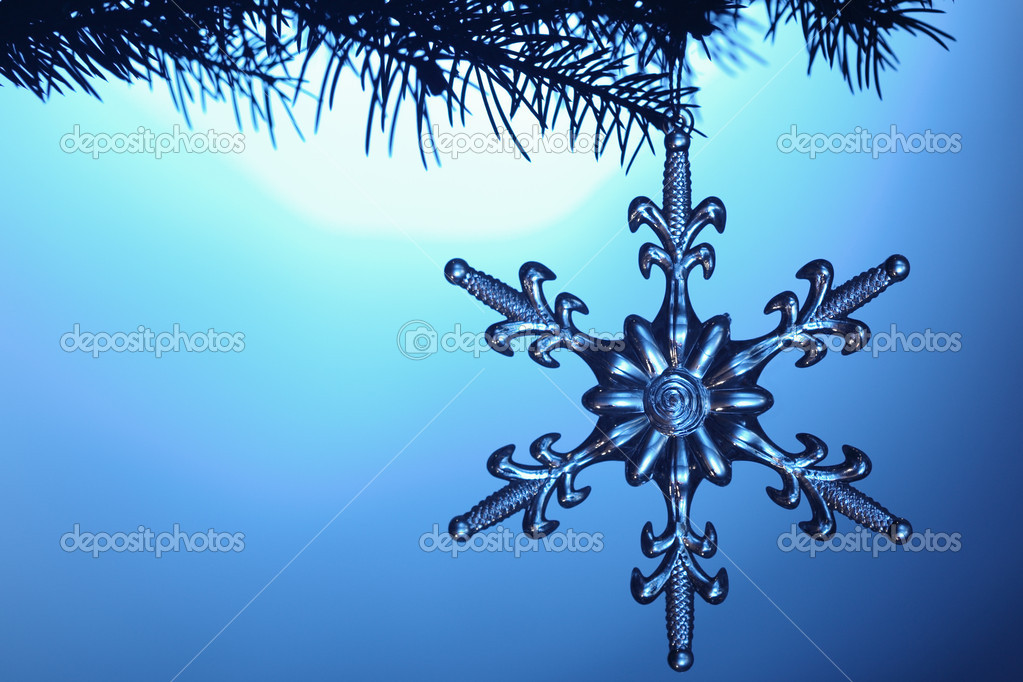 Silvery snowflake on blue background — Stock Photo #5644042