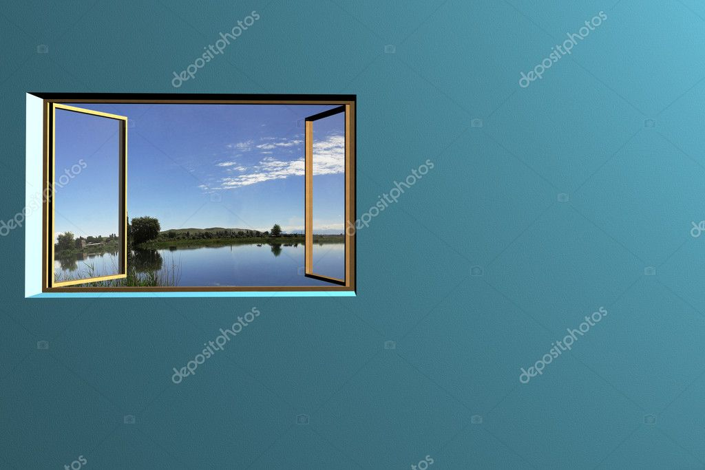 3d rendering the empty room with open window — Stock Photo #5646828