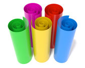 Five colored rolls — Stock Photo