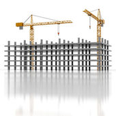Two cranes and construction — Stock Photo