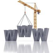 Crane and construction internet — Stock Photo