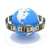 Dollars around globe — Stock Photo