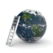 Earth and ladder — Stock Photo