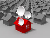 Satellite dish and houses — Stock Photo