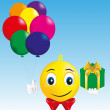 Stock Vector: Smiley boy with gift and balloons