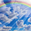 Stock Photo: Rainbow, clouds and sky
