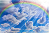Rainbow, clouds and sky — Stock Photo