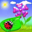 Ladybug and flower - Stock Photo