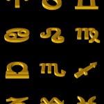 Zodiac gold icons — Stock Photo