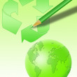 Recycling world and pencil — Stock Photo