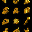 Stock Photo: Zodiac icon set 3d