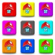 Stock Photo: House button set square