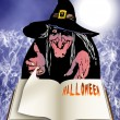 Halloween book and witch — Stock Photo
