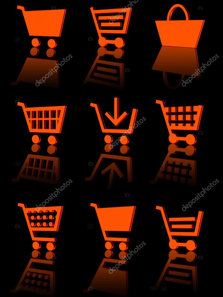 Three-dimensional icons of the shopping cart. black background with reflection — Stock Photo #5510865