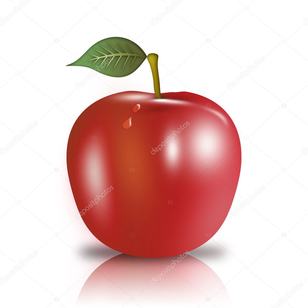 Red apple with leaf on a white background with reflection  Stock Photo #5511863