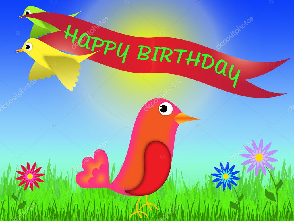 Happy birthday greeting card to draw in cartoon style — Stock Photo #5512052