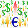 Rise in the euro — Stock Photo