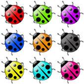 Ladybug icon set — Stock Photo